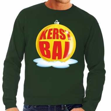 Foute kersttrui kerstbal geel groene sweater heren