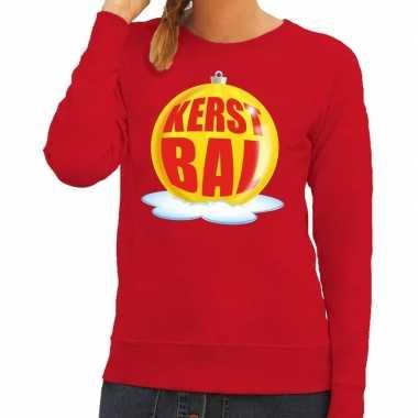 Foute kersttrui kerstbal geel rode sweater dames