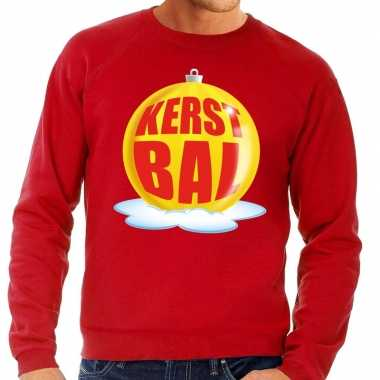Foute kersttrui kerstbal geel rode sweater heren