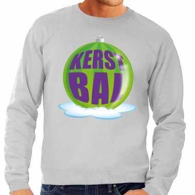 Foute kersttrui kerstbal groen grijze sweater heren