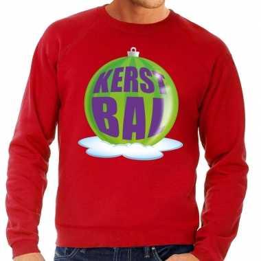 Foute kersttrui kerstbal groen rode sweater heren