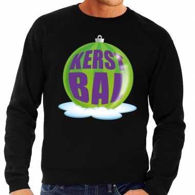 Foute kersttrui kerstbal groen zwarte sweater heren