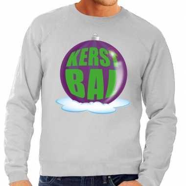 Foute kersttrui kerstbal paars grijze sweater heren