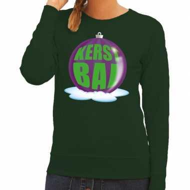 Foute kersttrui kerstbal paars groene sweater dames