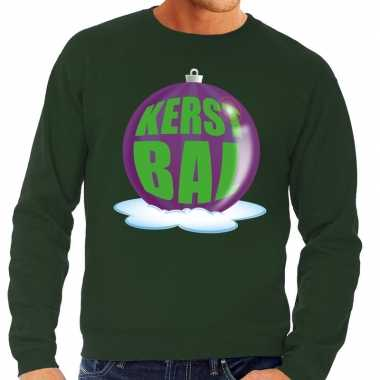 Foute kersttrui kerstbal paars groene sweater heren