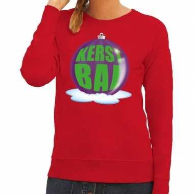 Foute kersttrui kerstbal paars rode sweater dames