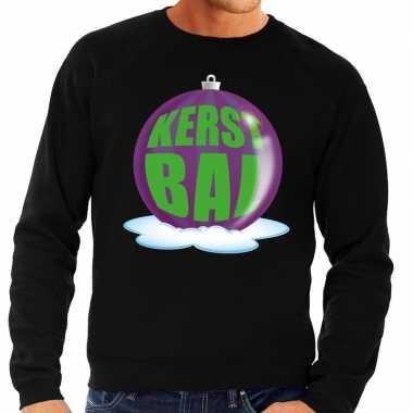 Foute kersttrui kerstbal paars zwarte sweater heren