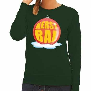 Foute kersttrui kerstbal rood groene sweater dames