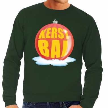 Foute kersttrui kerstbal rood groene sweater heren
