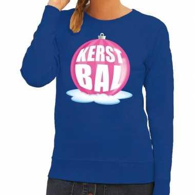 Foute kersttrui kerstbal roze blauwe sweater dames