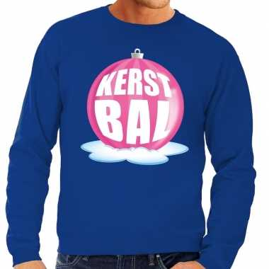 Foute kersttrui kerstbal roze blauwe sweater heren