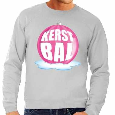 Foute kersttrui kerstbal roze grijze sweater heren