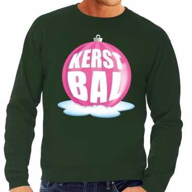 Foute kersttrui kerstbal roze groene sweater heren