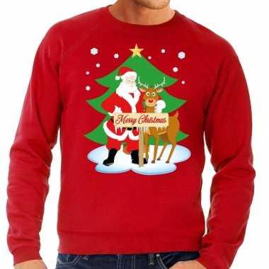 Foute kersttrui kerstman rendier rudolf rood heren