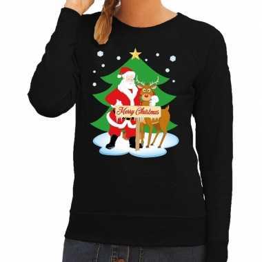 Foute kersttrui kerstman rendier rudolf zwart dames