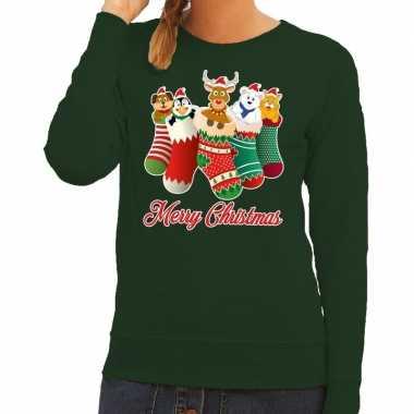 Foute kersttrui kerstsokken merry christmas groen dames