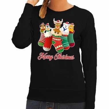 Foute kersttrui kerstsokken merry christmas zwart dames
