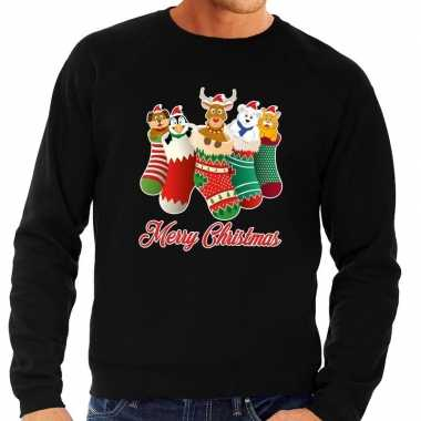 Foute kersttrui kerstsokken merry christmas zwart heren