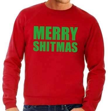 Foute kersttrui merry shitmas rood heren