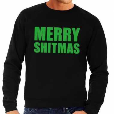 Foute kersttrui merry shitmas zwart heren
