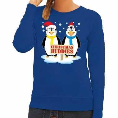 Foute kersttrui pinguin vriendjes blauw dames