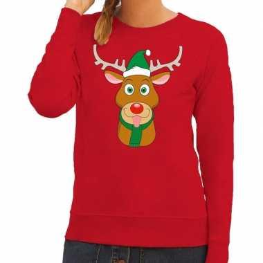 Foute kersttrui rendier rudolf groene kerstmuts rood dames