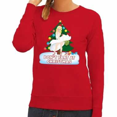 Foute kersttrui rood dont fart at christmas dames