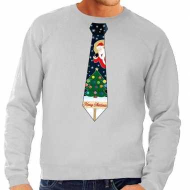 Foute kersttrui stropdas kerst grijs heren