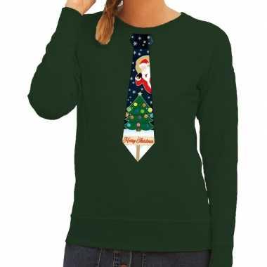 Foute kersttrui stropdas kerst groen dames