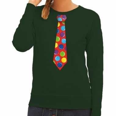 Foute kersttrui stropdas kerstballen groen dames