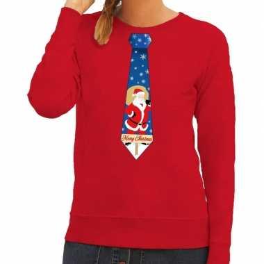 Foute kersttrui stropdas kerstman rood dames