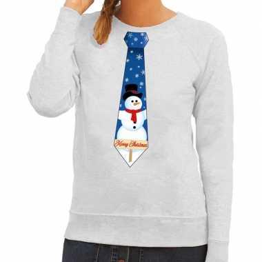 Foute kersttrui stropdas sneeuwpop grijs dames