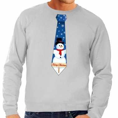 Foute kersttrui stropdas sneeuwpop grijs heren