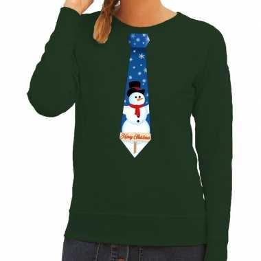 Foute kersttrui stropdas sneeuwpop groen dames