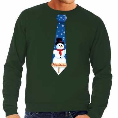 Foute kersttrui stropdas sneeuwpop groen heren