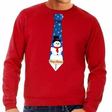 Foute kersttrui stropdas sneeuwpop rood heren