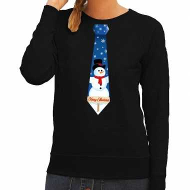 Foute kersttrui stropdas sneeuwpop zwart dames