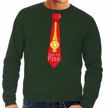 Foute kersttrui stropdas suck my piek groen heren