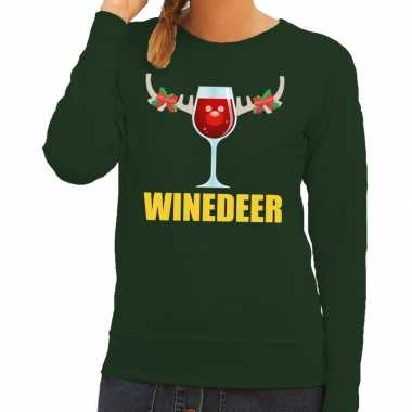 Foute kersttrui winedeer groen dames
