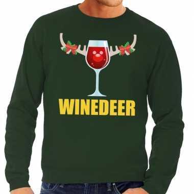 Foute kersttrui winedeer groen heren