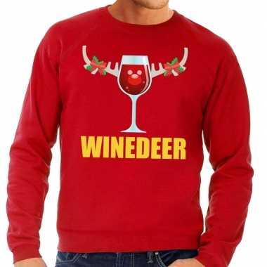 Foute kersttrui winedeer rood heren