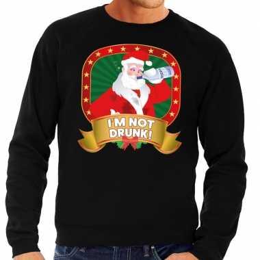 Foute kersttrui zwart im not drunk heren
