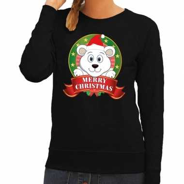 Foute kersttrui zwart merry christmas ijsbeer dames