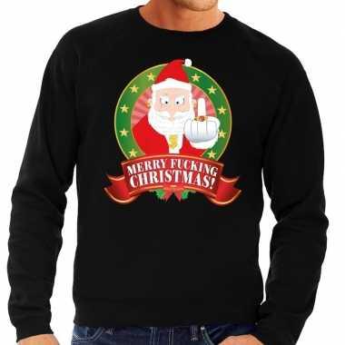 Foute kersttrui zwart merry fucking christmas heren