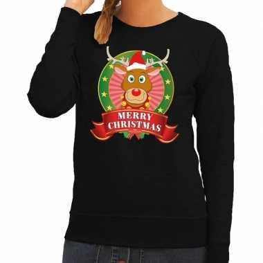 Foute kersttrui zwart rudolph merry christmas dames