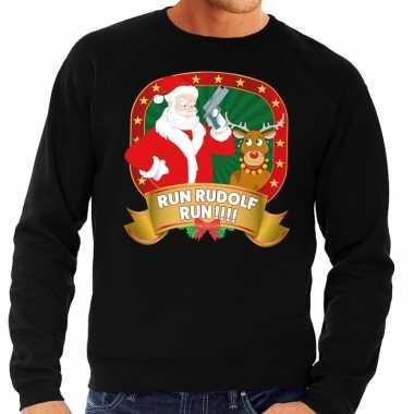 Foute kersttrui zwart run rudolf run heren