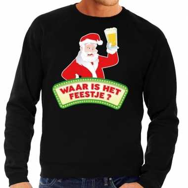 Foute kersttrui zwart waar is feestje heren