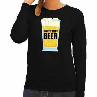 Foute oud nieuw trui / sweater happy new beer zwart dames