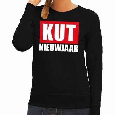Foute oud nieuw trui / sweater kut nieuwjaar zwart dames