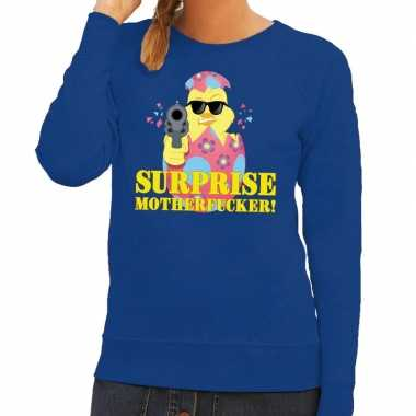 Foute paas sweater blauw surprise motherfucker dames